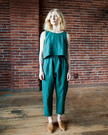 Marty Jean Uniform Linen Pant - Green