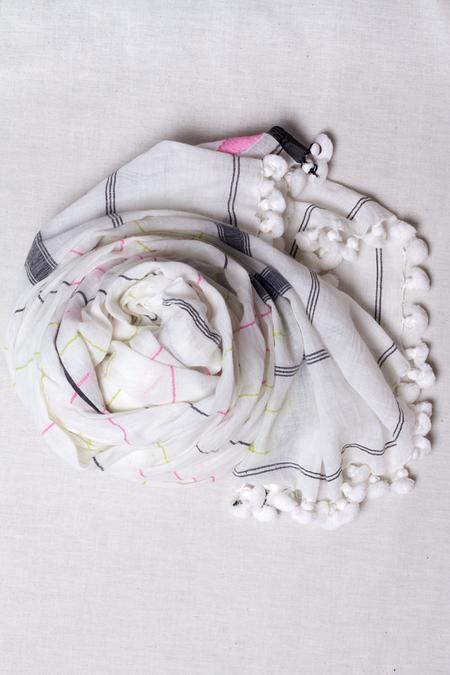 Studio Maeve Jamdani Khadi Cotton Scarf - WHITE