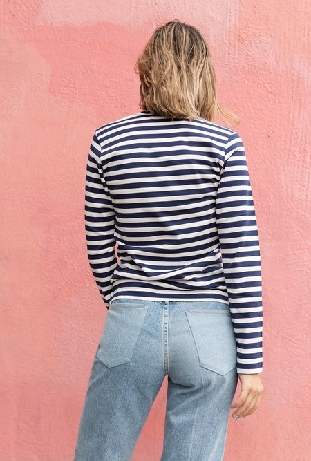 Comme des Garçons Striped Play Long sleeve Tee - Navy / White