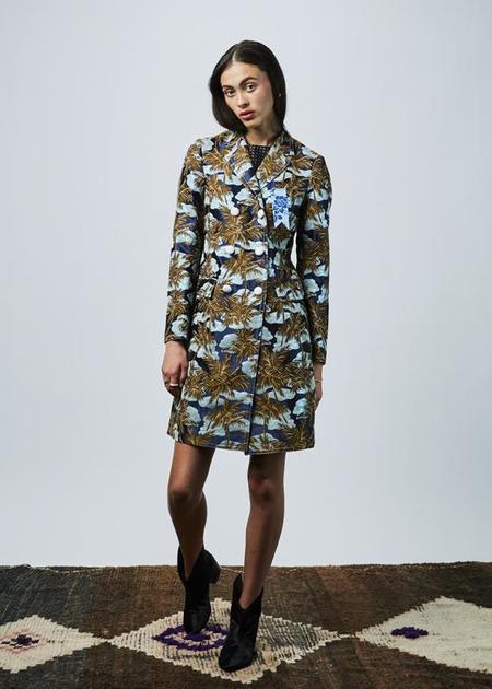 The Gigi Blanca Overcoat - Navy/Palm Tree