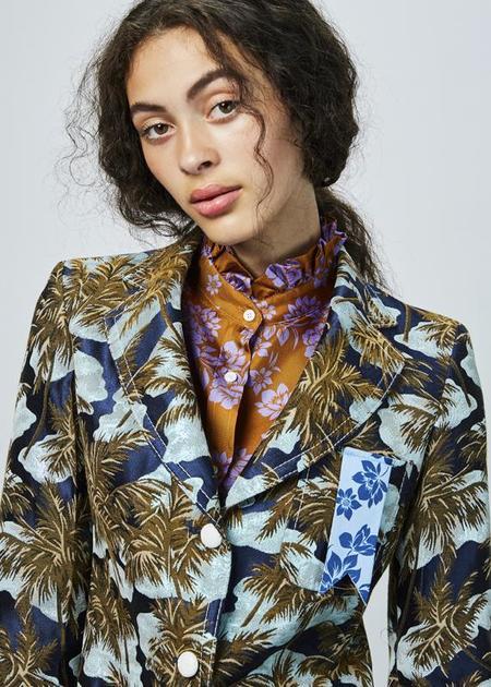 The Gigi Frida Blazer - Navy/Palm Tree