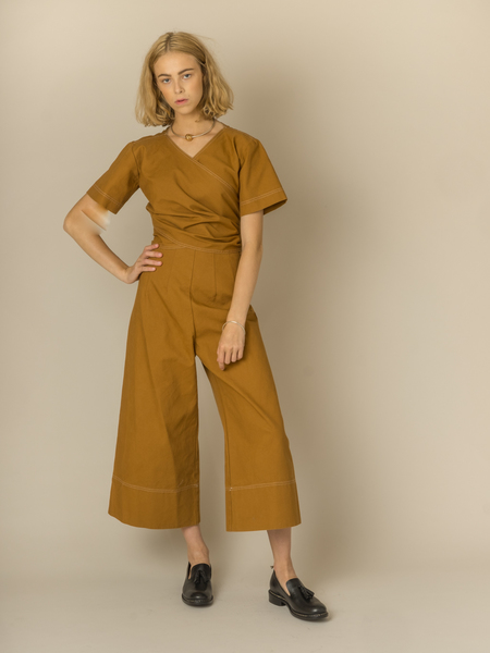 Caron Callahan Cardell Jumpsuit in Caramel Canvas