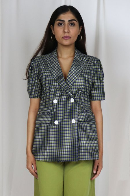 ROCKET X LUNCH Puffed Sleeve Blazer - Checkered Blue