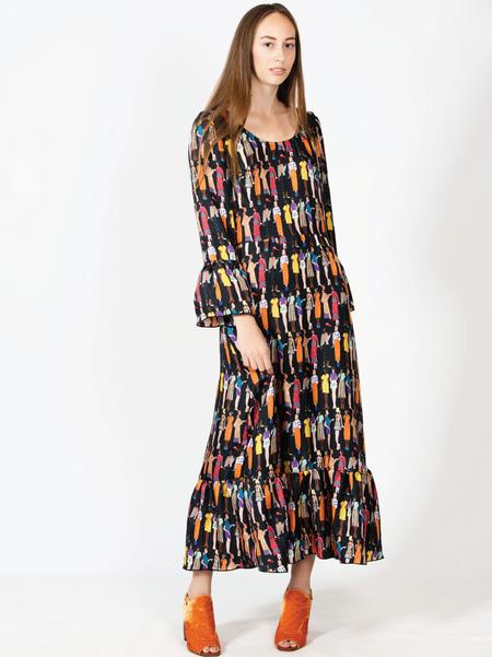 "One Imaginary Girl ""Pochois"" Fashion Illustration Silk Maxi Dress - Printed"