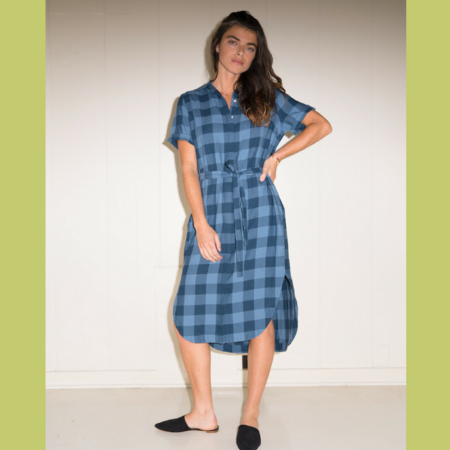 Birds of Paradis Florence Short Sleeve Shirtdress - Blue Buffalo Check