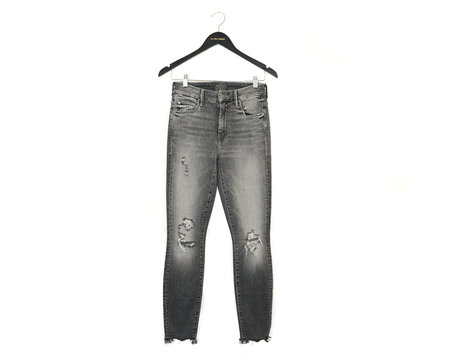 Mother Denim High Waisted Looker Ankle Chew - Distressed Grey