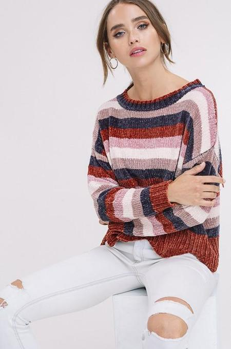 Listicle Forever Striped Chenille Pullover - Brick
