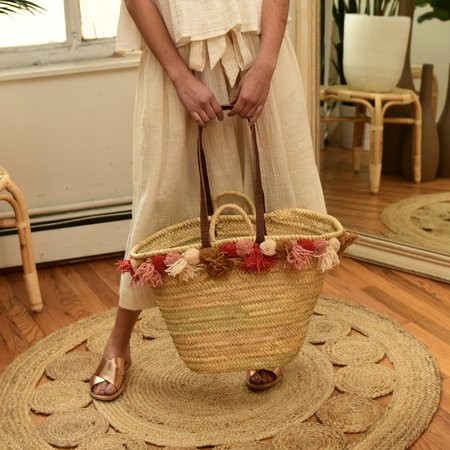 BAIAE Pompom Palm Leaf Basket Tote - Warm