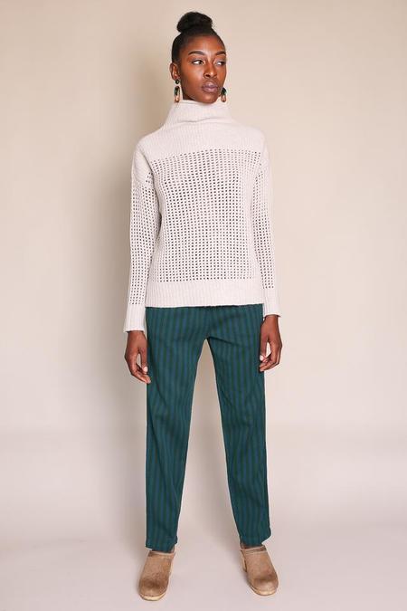 Pomandere Funnel Neck Ribbed Sweater - Oat