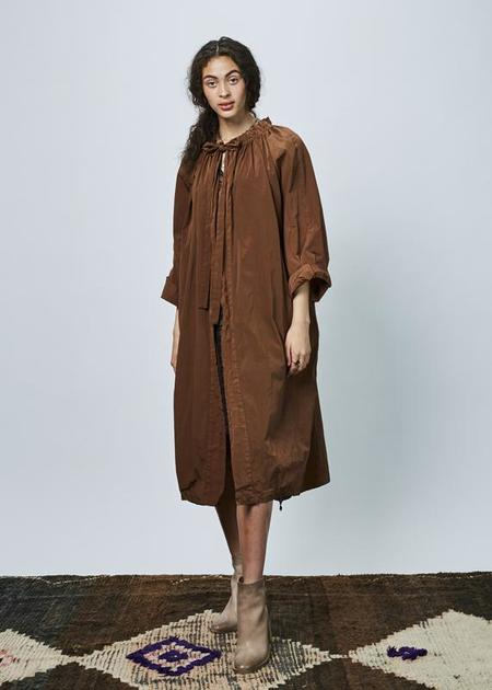Hache Tie Collar Cape Coat - brown