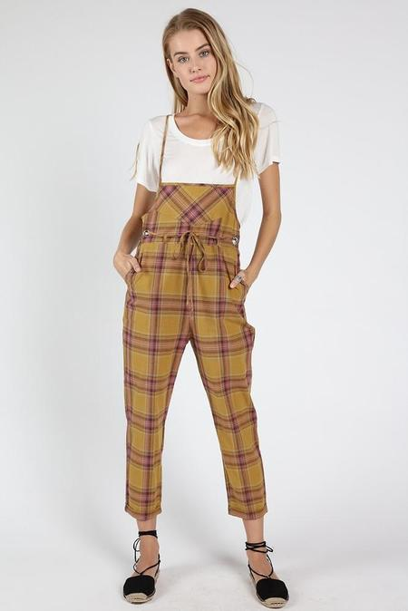 Wild Honey Stand For Plaid Jumpsuit - Kiwi