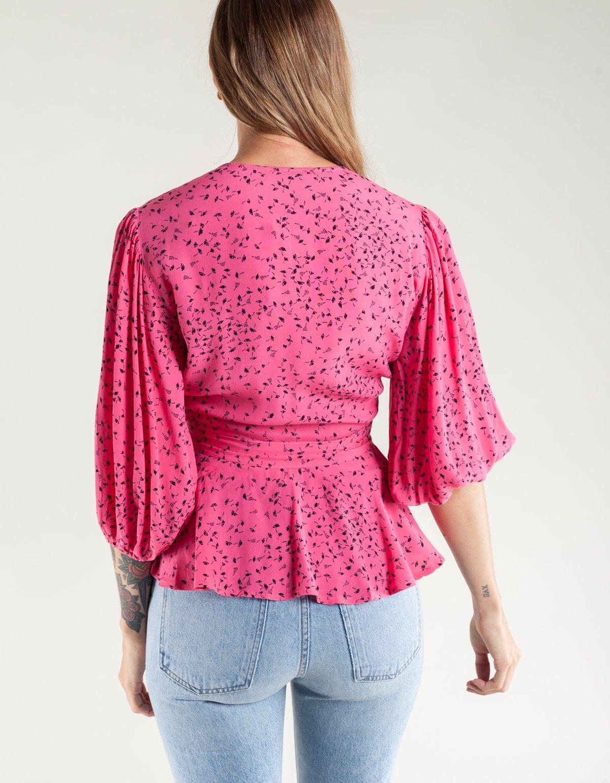 940ab355f6 Ganni Barra Crepe Wrap Blouse - Hot Pink | Garmentory