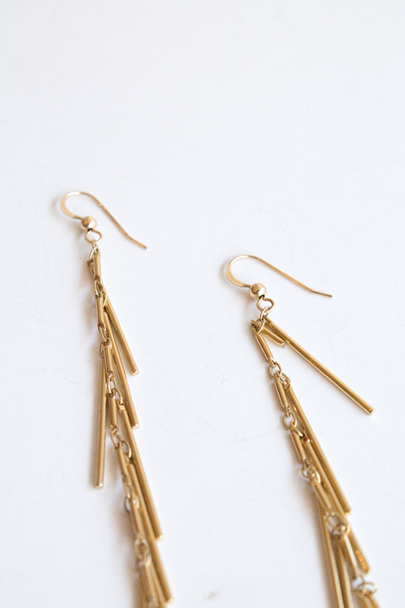 Sheila B Tassel Chain Earring - Gold