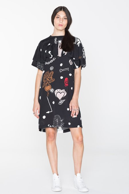 Salasai Creatures Tee Dress - Black Chain N Hound Print