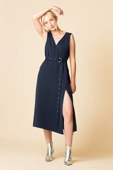 Tibi Drape Twill Wrap Dress