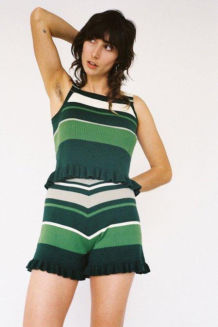 Lonely Frill Singlet - Green Stripe