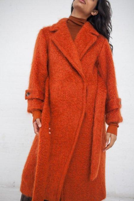 Rito Shaggy Long Coat with Waist Belt - Orange