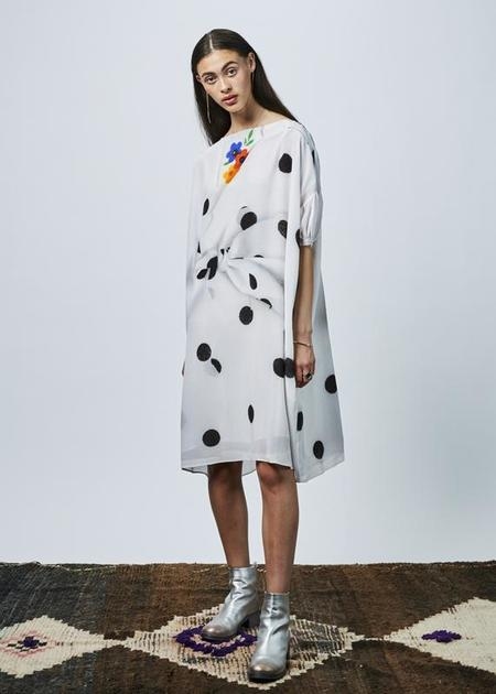 Antoni + Alison Dot Print Oversize Dress - white/black dots
