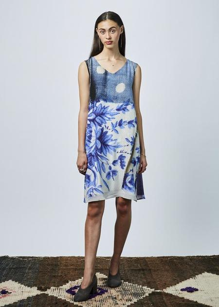 Antoni + Alison Sleeveless Flower Print Dress - Blue/White