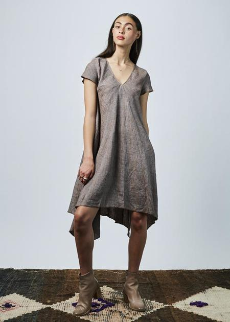Hache Windowpane Linen Dress - brown/multi