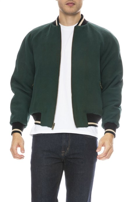 ZIRAN Reversible Quilted Bomber Jacket - QUILTED IVY/WAFFLE GREEN