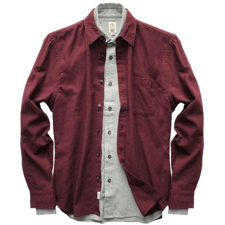 KATO Brushed Chambray Shirt - WINE