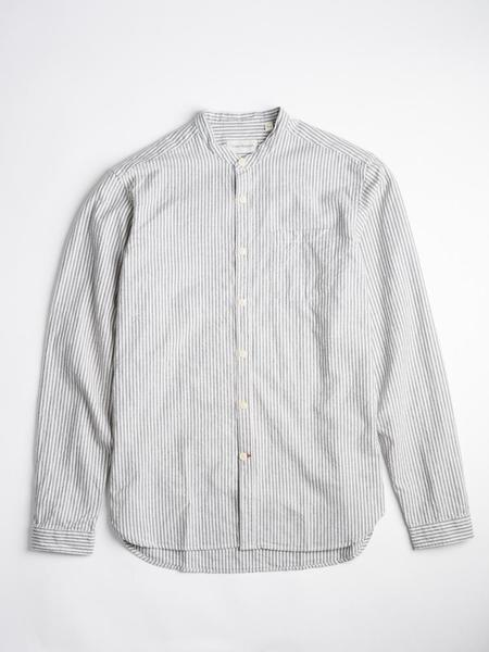 Oliver Spencer Grandad Shirt - Pooley Navy Stripe