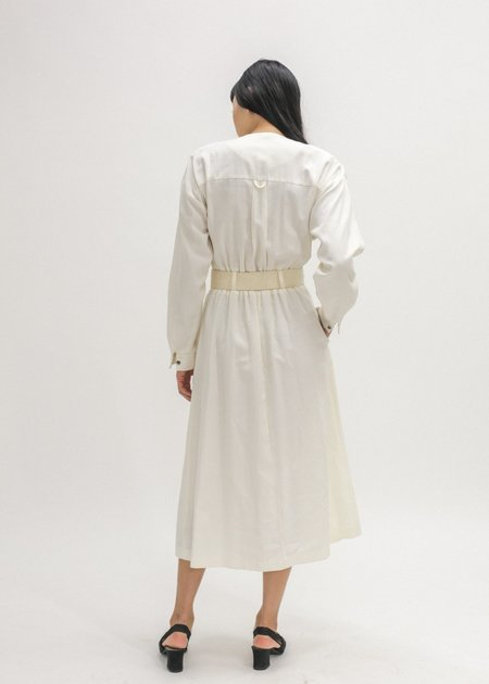 Vintage New Classics Belted Midi Dress - White