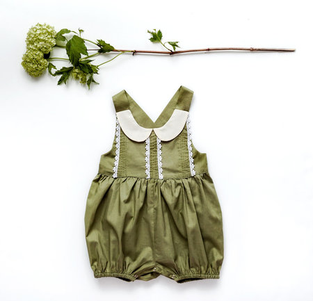 KIDS Petit Mioche peter pan collar romper - natural