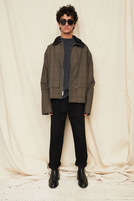 Assembly New York  Funnel Neck Coat - Green Plaid
