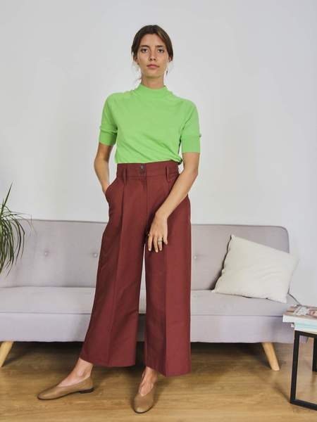 Morybisis High Waist Cotton Tailored Trousers - Burgundy