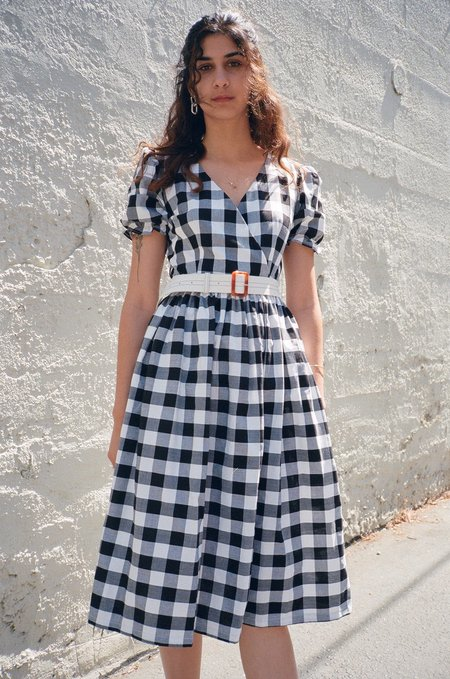 Lisa Says Gah For Garmentory Topanga Midi Dress - Black/White Gingham