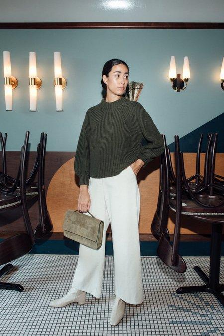 Apiece Apart Merel Funnel Neck Crop Sweater - Military