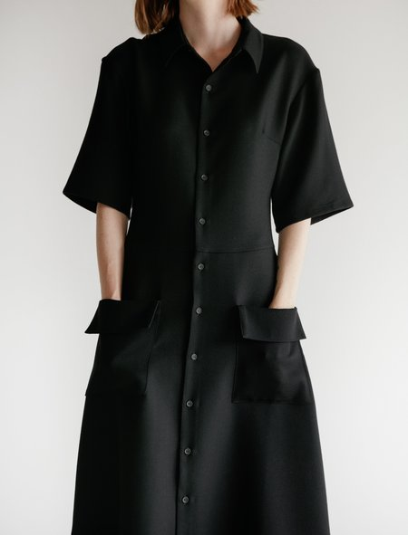 Cristaseya Japanese Double Wool Maxi Polo Dress