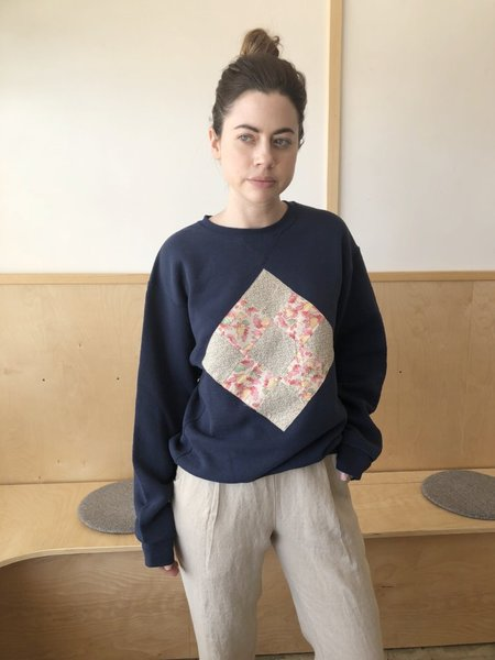 Carleen Quilted Patchwork Remade Vintage Sweatshirt - Navy