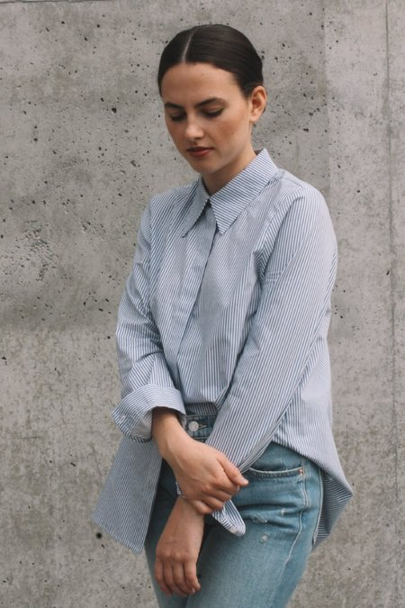 Just Female Timeo Button Up - Blue Stripe