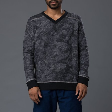 THADDEUS O'NEIL Floral Abstract Marine Sweater