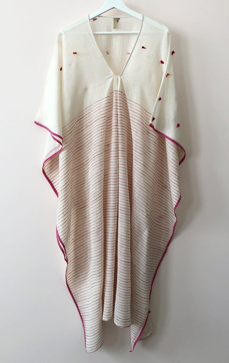 Two Caftan with Tassels and Border - Natural White