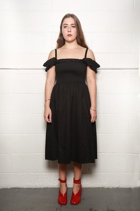 Molly Goddard Paula Shirred Dress with Frill Straps - Black