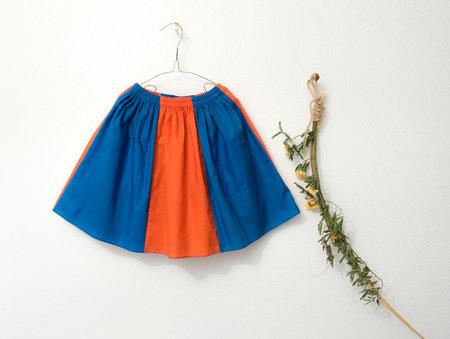 KIDS Petit Mioche bicolore skirt with pockets - orange/blue