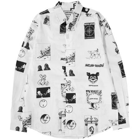 Fucking Awesome Cut Outs Dress Shirt - White