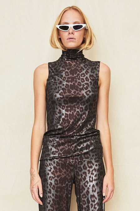 Assembly New York Ribbed Sleeveless Mockneck - Cheetah