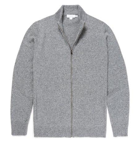 Sunspel Lambswool Zip Jacket - Mid Grey Melange