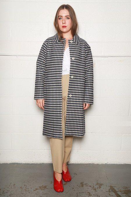 Sara Lanzi Loden Coat - Checked Blue