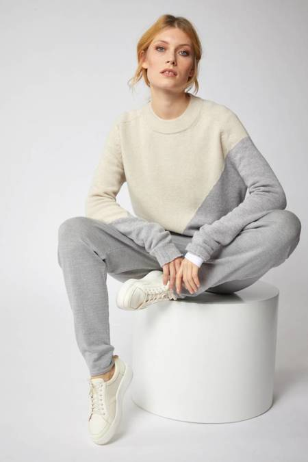 Lanius Colorblock Pullover - Grey Melange / Cream Melange