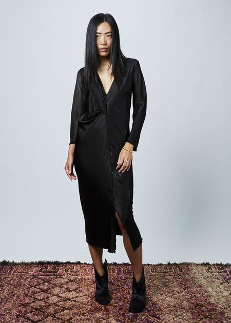 Jaga Painted Rayon Dress - Black/Silver