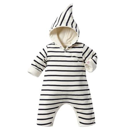 KIDS Petit Bateau Baby Padded Jumpsuit With Hood - Blue And White Stripes