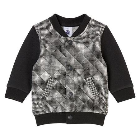 KIDS Petit Bateau Baby Quilted Sweater With Snaps - Black And White Houndstooth