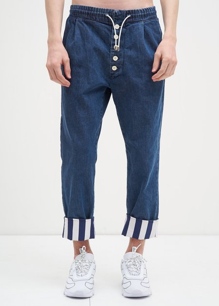Sunnei Elastic Denim Pants with Stripes - Blue