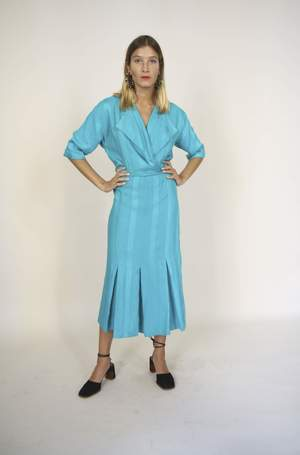 9c093d1881 Bird On A Wire Vintage Heavy Cotton Tailored Dress - turquoise
